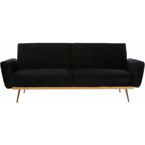 """main image of """"Premier Housewares Sofa Bed Black Sofa bed Fabric Velvet Sofa Bed Double For Bedroom Sofa Beds for Adults 3 Seat Sofa Modern Bed Sofa w211 x d83 x h85"""""""
