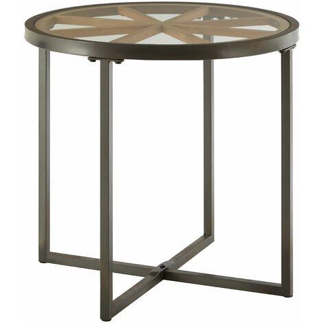 Premier Housewares Trinity Tempered Glass Round Side Table