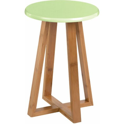 Premier Housewares Viborg Green Bamboo Round Stool