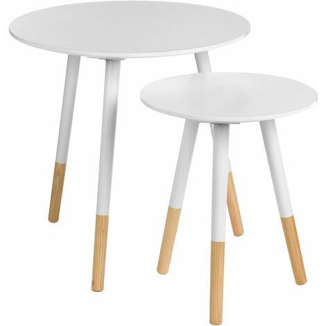 Premier Housewares Viborg White Round Side Tables - Set of 2