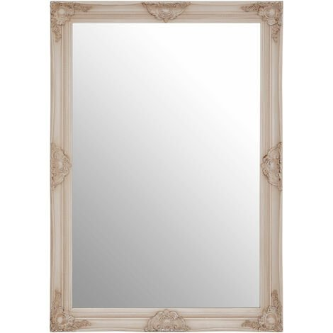 """main image of """"Premier Housewares Wall Mirror Bathroom / Bedroom / Hallway Wall Mounted Mirrors With Wooden Frame Round Shape / Vintage Design 5 x 102 x 72"""""""