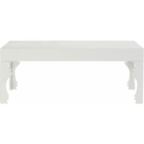 "main image of ""Premier Housewares White Gloss Coffee Table High Gloss Living Room Coffee Table White Modern Furniture Coffee Table for Living Room w110 x d60 x h43cm"""