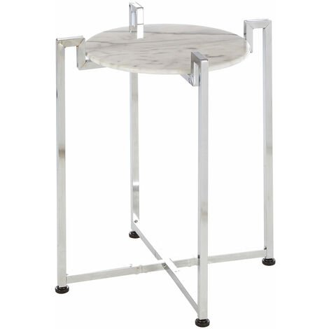 Premier Housewares White Marble Side Table with Chrome Base