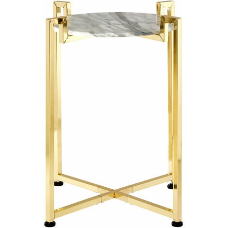 Premier Housewares White Marble Side Table with Warm Gold Base
