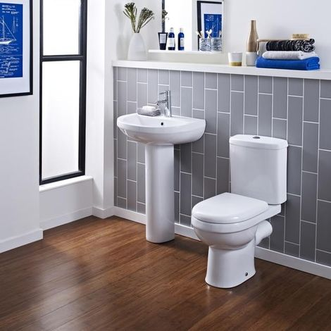 Premier Ivo Contemporary Bathroom Suite With 550mm Basin And Toilet