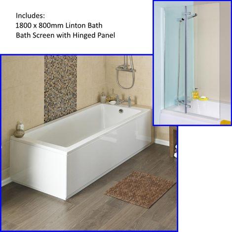Premier Linton 1800 X 800mm Single Ended Bath And Straight Bath Screen