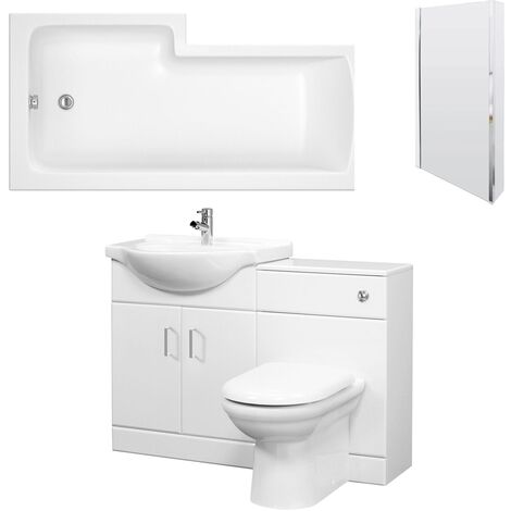 Premier Mayford Complete Furniture Bathroom Suite with L-Shaped Shower Bath 1700mm - Right Handed