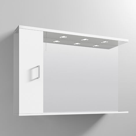 Nuie Mayford Mirrored Bathroom Cabinet 750mm H x 1200mm W White Left Handed