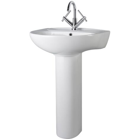 Premier Melbourne Large Basin and Full Pedestal 550mm Wide - 1 Tap Hole