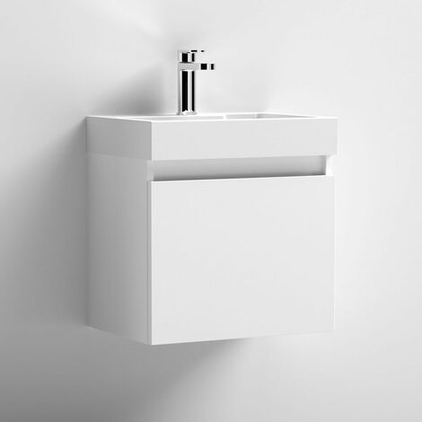 Premier Merit Wall Hung 1-Door Vanity Unit with L-Shaped Basin 500mm - Gloss White