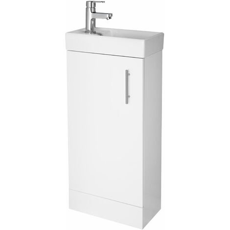 Premier Minimalist Compact Floor Standing Vanity Unit with Basin 400mm Wide - Gloss White