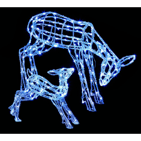 Premier Mother and Baby Reindeer with 230 White LED's - 2 Piece Set