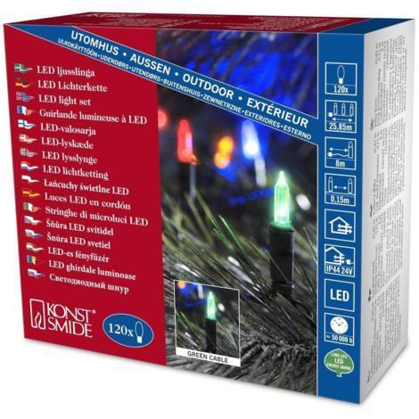 Indoor Outdoor Christmas Tree Mini LED Fairy Lights - 120 Multicoloured lights