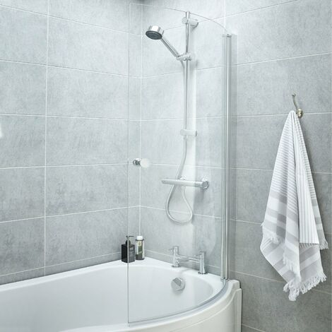 Premier P-Shaped Shower Bath Screen with Knob, 1435mm High x 720mm Wide, 6mm Glass