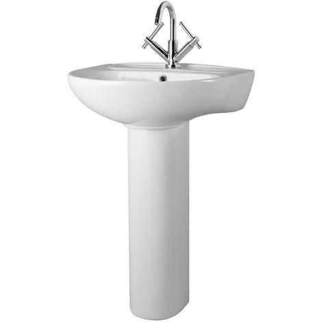 Premier Perth 55cm 1TH Basin with Full Pedestal