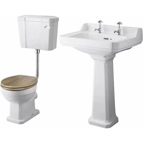 Premier Richmond Traditional Bathroom Suite Low Level Toilet Natural Walnut Seat