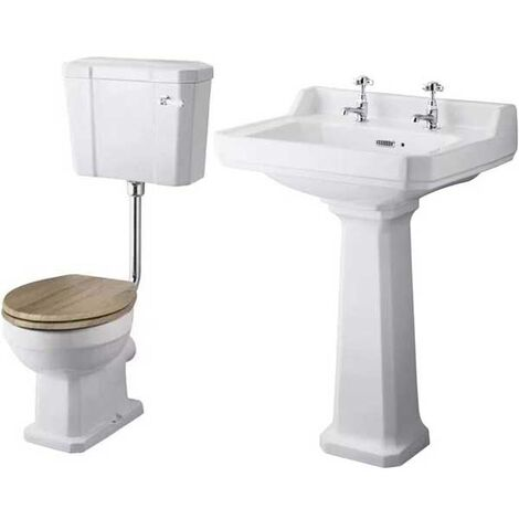 Premier Richmond Traditional Bathroom Suite Low Level Toilet - White Seat
