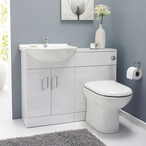 Premier Saturn Combination Furniture Pack with Round Basin and WC Unit - 1 Tap Hole