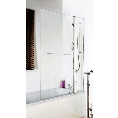 Premier Square Bath Screen with Panel and Rail, 1435mm High x 985-1005mm Wide, 6mm Glass