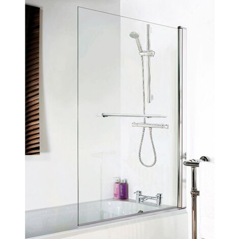 Premier Square Bath Screen with Rail, 1435mm High x 775-790mm Wide, 6mm Glass