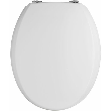 Premier Traditional Wooden Toilet Seat, Chrome Hinges, White
