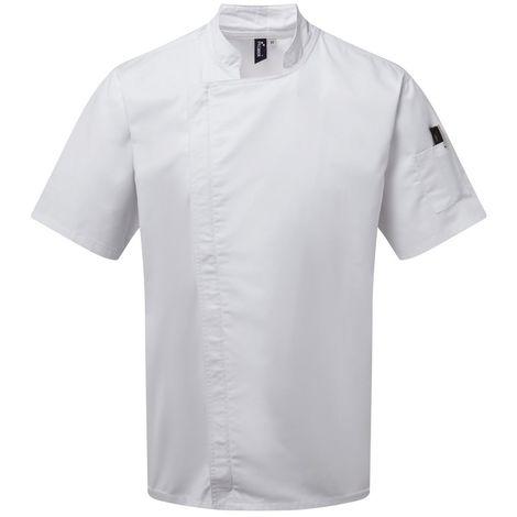 Premier Unisex Adults Chefs Zip-Close Short Sleeve Jacket