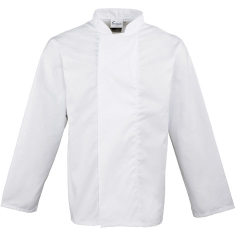 Premier Unisex Coolmax Long Sleeve Chefs Jacket / Workwear (XS) (White)