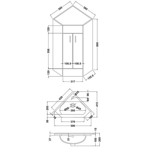 Compact 550mm Corner Cabinet & Basin - 1 Tap Hole