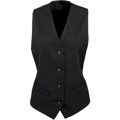 Premier Womens/Ladies Lined Polyester Waistcoat / Bar Wear / Catering (Pack of 2)