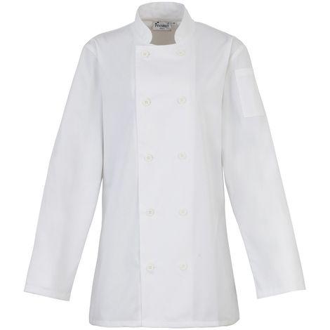 Premier Womens/Ladies Long Sleeve Chefs Jacket / Chefswear (Pack of 2)