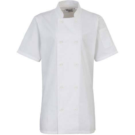 Premier Womens/Ladies Short Sleeve Chefs Jacket / Chefswear (Pack of 2)