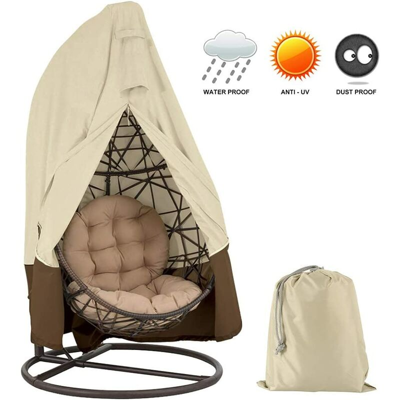 Bares - Premium 420D Oxford Housse de siège Suspendue avec Fermeture éclair imperméable Coupe-Vent d'hiver pour Meubles de Jardin