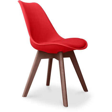 Premium Chaise Deswick au design scandinave avec coussin - Pieds sombres Orange