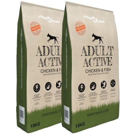 Premium Dry Dog Food Adult Active Chicken & Fish 2 pcs 30 kg