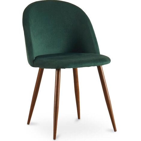 Premium EvelDining Chair Accent Velvet Upholstered Scandi Retro Design Dark Wooden Legs - Evelyne