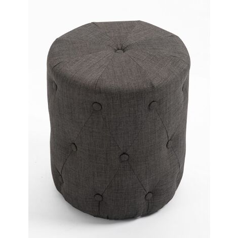 Premium Fabric Round Footstool in Charcoal Grey | Upholstered Foot Rest / Ottoman / Pouffe