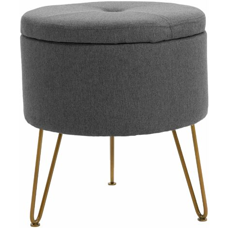 Premium Fabric Round Footstool in Dark Grey | Upholstered Foot Rest / Ottoman / Pouffe with Metal Legs