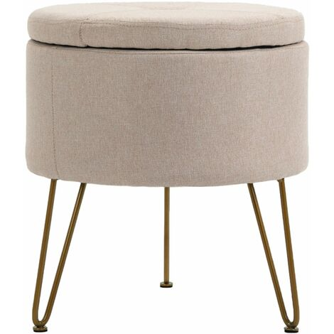 Premium Fabric Round Footstool in Light Brown | Upholstered Foot Rest / Ottoman / Pouffe with Metal Legs