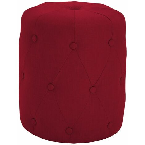 Premium Fabric Round Footstool in Red | Upholstered Foot Rest / Ottoman / Pouffe