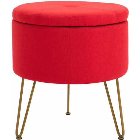 Premium Fabric Round Footstool in Red | Upholstered Foot Rest / Ottoman / Pouffe with Metal Legs