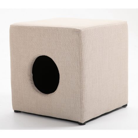 Premium Linen Fabric Footstool with Cat Hole in Beige   Square Fabric Foot Rest
