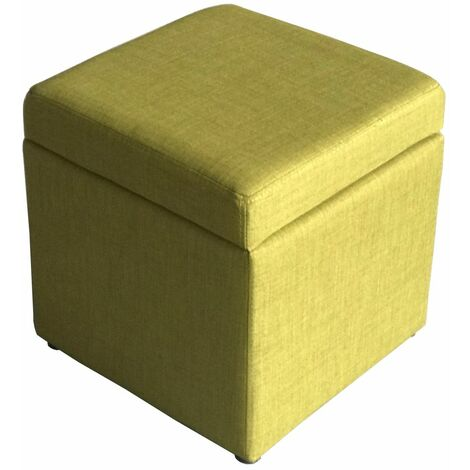 Premium Linen Fabric Footstool with Storage in Olive   Square Fabric Foot Rest