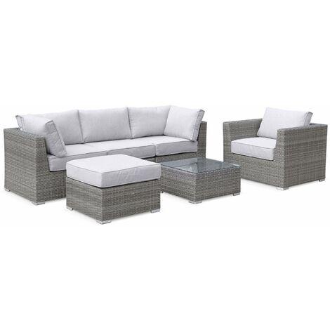 Premium Quality rounded polyrattan garden sofa set - Grey, light grey cushions - 5 seats, modular, maximum comfort.