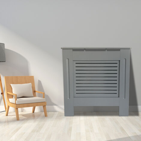 Premium Radiator Cover | MDF Cabinet with Modern Horizontal Style Slats | Grey Painted