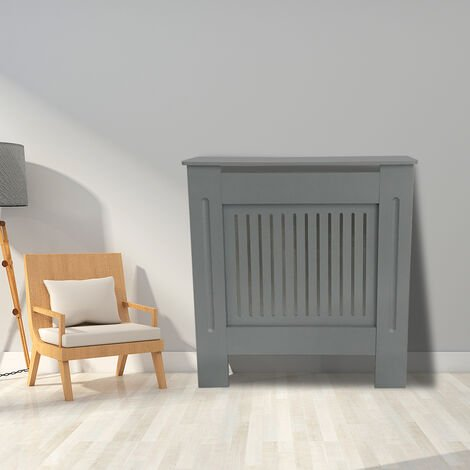 Premium Radiator Cover | MDF Cabinet with Modern Vertical Style Slats | Grey Painted