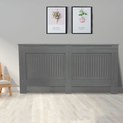 Premium Radiator Cover   MDF Cabinet with Modern Vertical Style Slats   Grey Painted