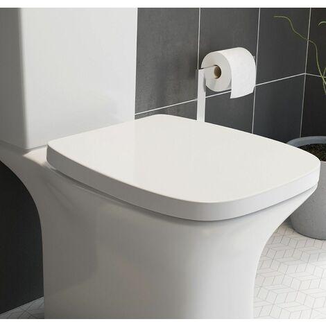 Premium Soft Close White Toilet Seat Top Fix Quick Release Hinges Bathroom