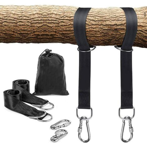 """main image of """"Premium Tree Swing Hanging Hammock Straps - Hanging Straps 150cm With 2 Heavy Duty Safety Lock Carabiner Hooks & D-rings, Polyester Straps Perfect for Hammock Hanging Kit Straps"""""""