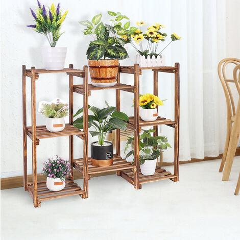 Premium Wood Plant Stand Carbonized 8 Tiered Corner Plant Rack Garden Tall Shelf