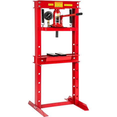 Prensa de taller 12t - prensa hidráulica con manómetro, prensa de acero lacado con válvula de desagüe, prensa para taller mecánico para prensar rodamientos - rojo